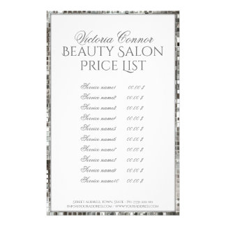 Metallic Border Beauty Salon Price List Flyer