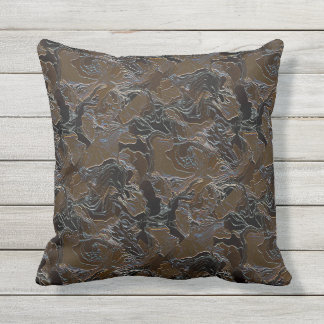 Metallic Brown Camouflage Outdoor Cushion