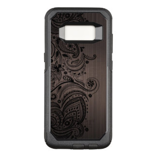 Metallic Brown Texture & Black Paisley Lace OtterBox Commuter Samsung Galaxy S8 Case