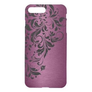 Metallic Burgundy Red Texture & Black Lace iPhone 7 Plus Case