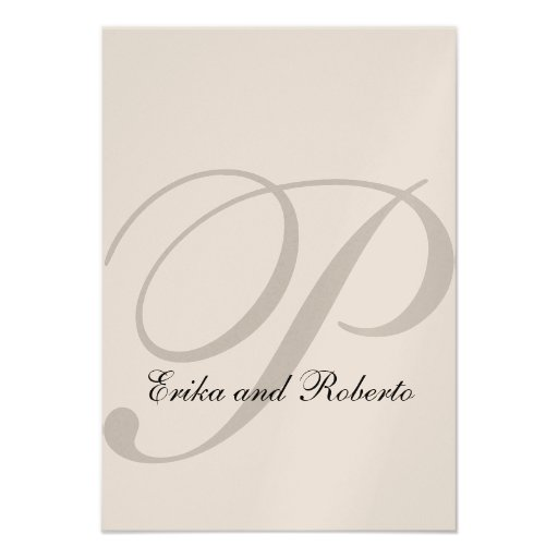 Metallic Champagne Paper Initial Wedding Reception Personalized Invitations