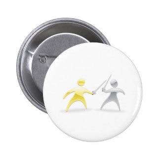 Metallic character handshake concept pinback buttons