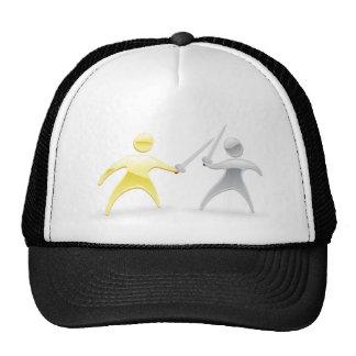 Metallic character handshake concept trucker hats