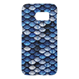 Metallic Cobalt Blue Fish Scales Pattern
