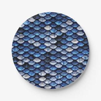 Metallic Cobalt Blue Fish Scales Pattern 7 Inch Paper Plate