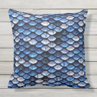 Metallic Cobalt Blue Fish Scales Pattern Outdoor Cushion