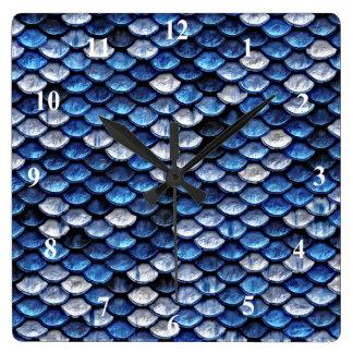Metallic Cobalt Blue Fish Scales Pattern Wallclocks
