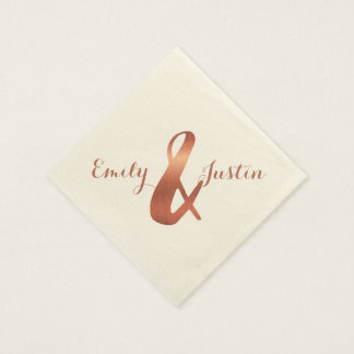 Metallic copper-look ampersand wedding design paper napkins