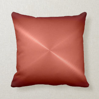 Metallic Copper Stainless Steel Metal Look Throw Pillow