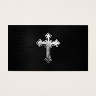Metallic Crucifix on Black Leather Business Card