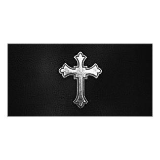 Metallic Crucifix on Black Leather Picture Card