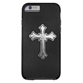 Metallic Crucifix on Black Leather Tough iPhone 6 Case