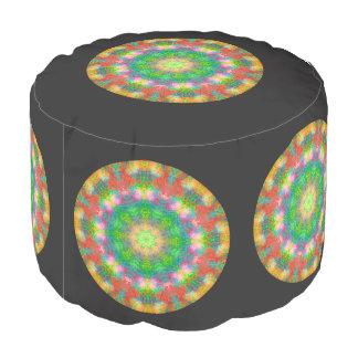 Metallic Crystal Mandala Design Ottoman Pouf
