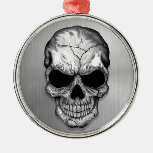 Metallic Crystal Skull on Stainless Steel Effect Ornaments
