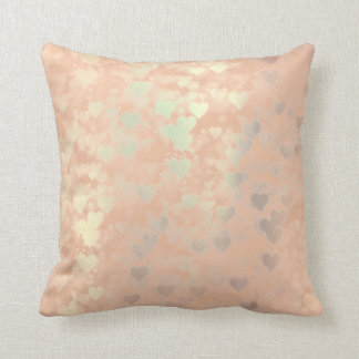 Metallic Crystals Rose Gold Makeup Hearts Copper Cushion
