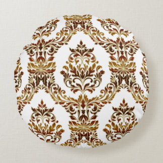 Metallic Damask in Bronze and Gold Round Cushion