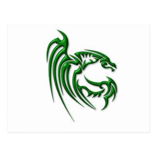 Metallic Dark Green Dragon Postcard
