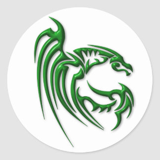 Metallic Dark Green Dragon Round Sticker