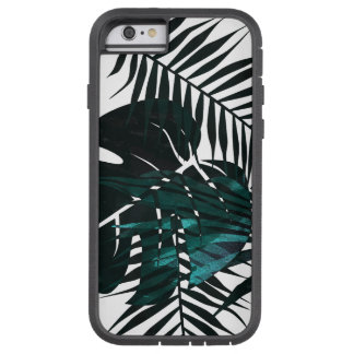Metallic dark green tropical leaves tough xtreme iPhone 6 case