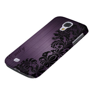 Metallic Dark Purple With Floral Black Lace Samsung Galaxy S4 Case