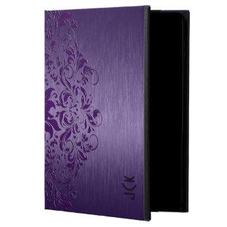 Metallic Deep Purple Brushed Aluminum & Lace iPad Air Cover