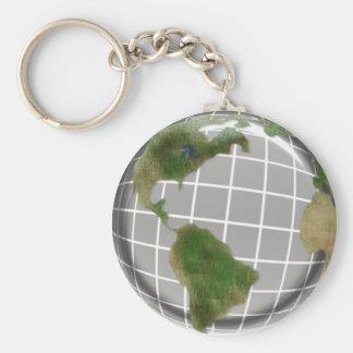 Metallic Earth Day Globe Basic Round Button Key Ring