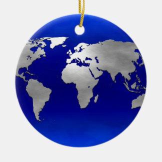 Metallic Earth Map Ceramic Ornament