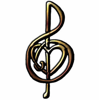Metallic Embossed Musical Treble Clef with Heart Acrylic Cut Outs