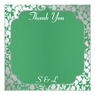 Metallic Emerald Green Thank You Card / Note 13 Cm X 13 Cm Square Invitation Card