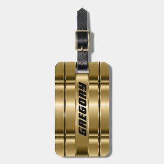 Metallic Faux Gold Stripes Luggage Tag