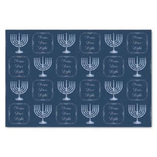 Metallic Filigree Menorah Peace Love Light Tissue Paper