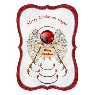 Metallic Filigree Merry Christmas Angel 5x7 Paper Invitation Card