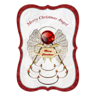 Metallic Filigree Merry Christmas Angel 13 Cm X 18 Cm Invitation Card