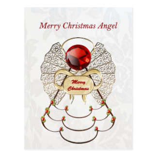 Metallic Filigree Merry Christmas Angel Postcard