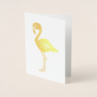 Metallic Flamingo Tropical Island Bird Foil Card