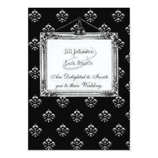 Metallic Fleur de lis (Silver) Wedding Card