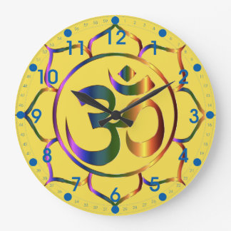 Metallic Floral Om Symbol with Blue Numbers Wallclock