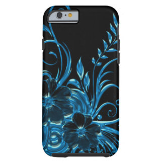 Metallic Flower Blossom & Swirls In Blue Tough iPhone 6 Case
