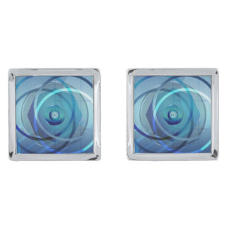 Metallic Flower - Cufflinks Silver Finish Cufflinks