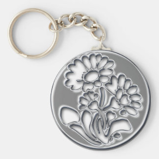 Metallic flower keychain
