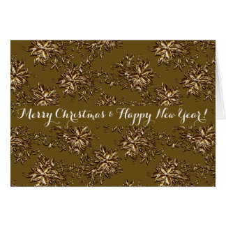 Metallic Flowers-Merry Christmas & Happy New Year Card