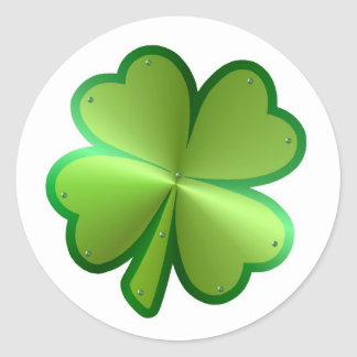 Metallic Four-leaf Clover Classic Round Sticker
