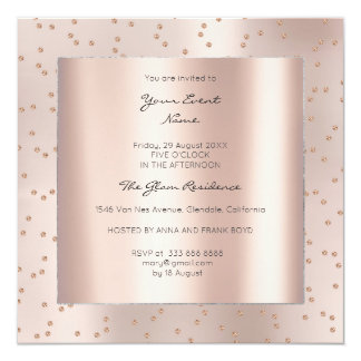 Metallic Geometry Gold Pink Rose Swarovski Gems Card