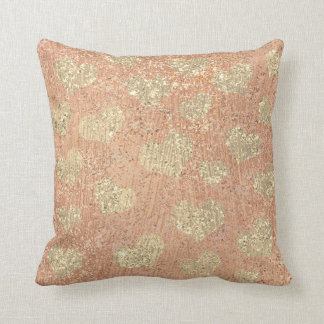 Metallic Glitter Rose Gold Makeup Sparkly Hearts Throw Pillow
