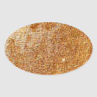 metallic gold abstract oval sticker
