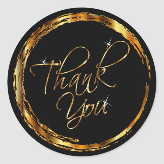 Metallic Gold and Black Design - Thank You Classic Round Sticker
