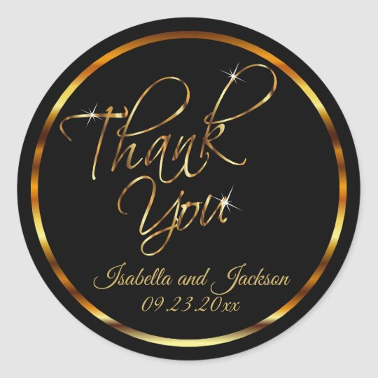 Metallic Gold and Black - Thank You Classic Round Sticker