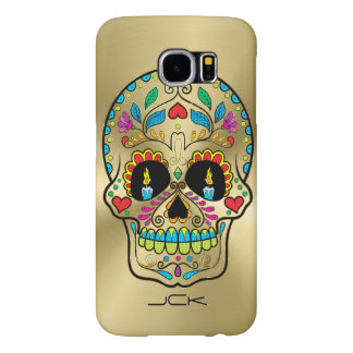 Metallic Gold And Colorful Sugar Skull Samsung Galaxy S6 Cases