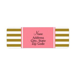 Metallic Gold and  Pink Striped Pattern Return Address Label