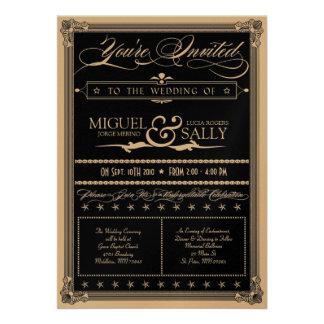 Metallic Gold Black DIY Wedding Invitation